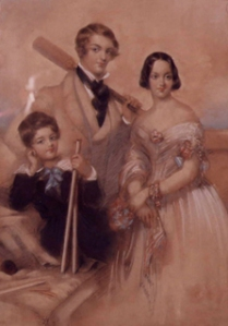Hon William Henry Leigh (aged 18) holds the cricket bat, Hon. Edward Chandos Leigh (aged 9) holds the stumps and sister Julie Leigh looks on. Painted 1842 Stoneleigh Abbey - © Stoneleigh Trust