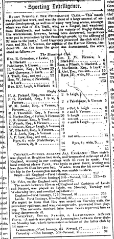 Stoneleigh v Rugby School Match Report published in the Leamington Courier in 1849 - © Leamington Courier