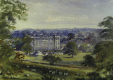 Painting of the Gentleman of Warwickshire v I Zingari match at Stoneleigh Abbey CAT 1872 © MCC